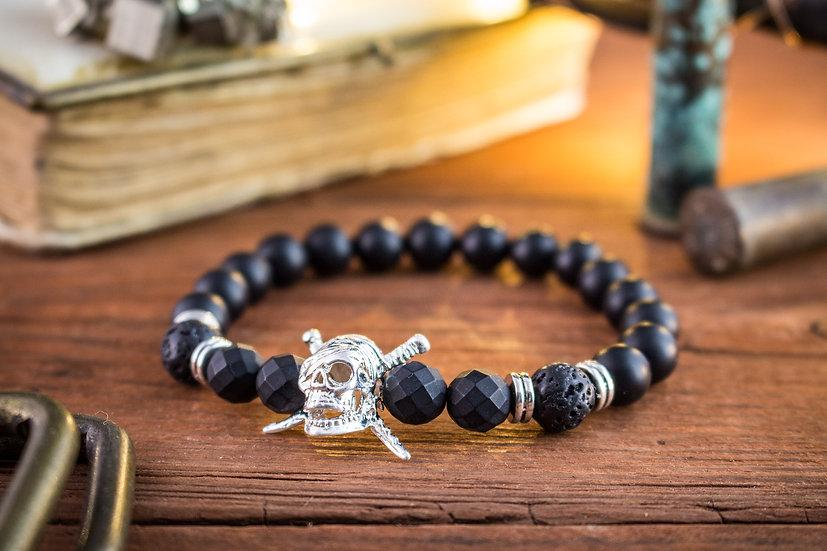 Matte black onyx & lava stone beaded stretchy bracelet with silver skull