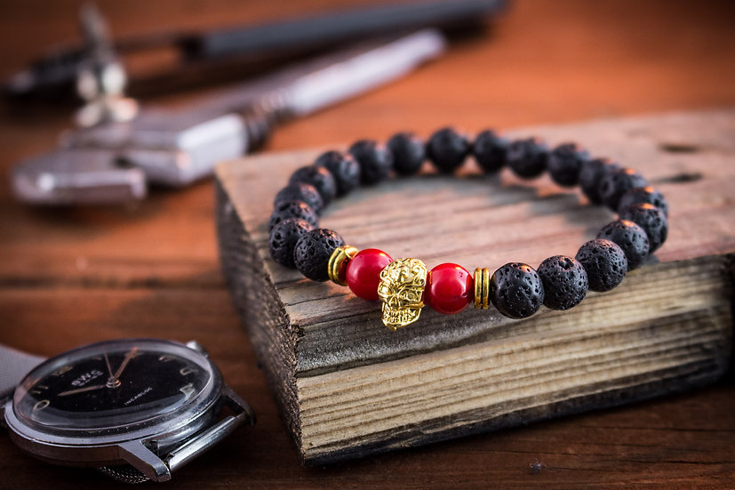 Gold skull beaded bracelet with black lava stone & red coral
