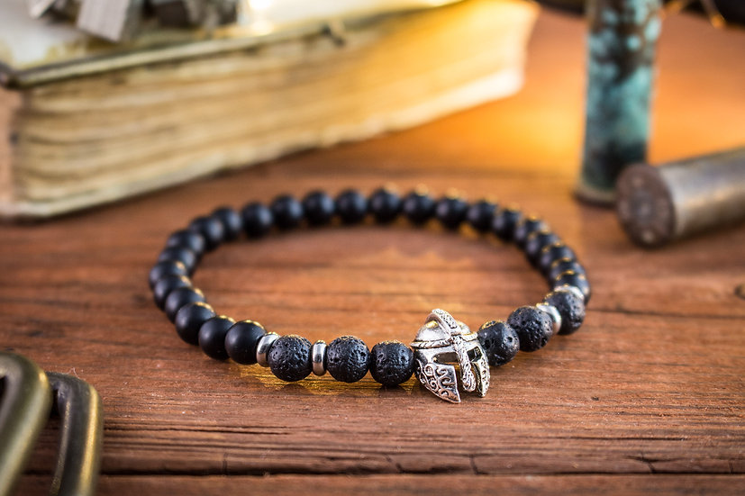 Matte black onyx & lava stone beaded stretchy bracelet with spartan helmet
