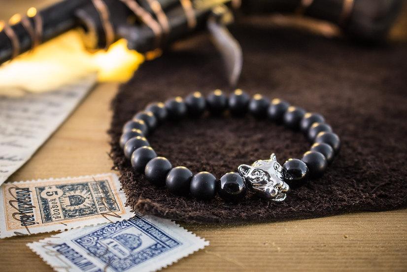 Black onyx beaded stretchy bracelet with Leopard