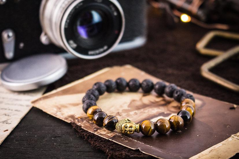 Black lava stone & tiger eye beaded stretchy bracelet with gold Buddha