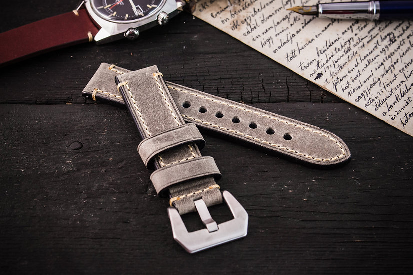 22mm Gray crazy horse genuine leather watch strap