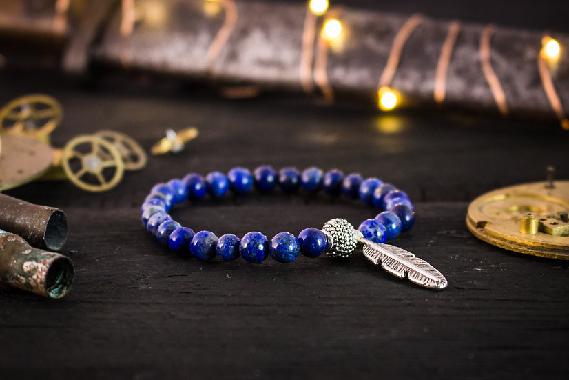 Blue Lapis Lazuli beaded stretchy bracelet with silver feather