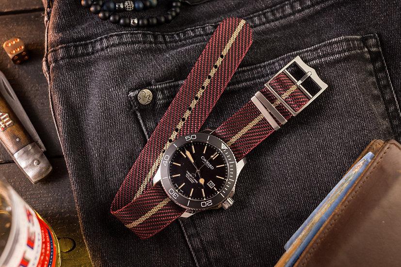 20mm Maroon & Beige Adjustable Woven Fabric Single Pass Nato Watch Strap