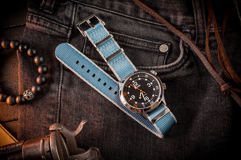 Light Blue and Gray premium Seat Belt Nato Watch Strap