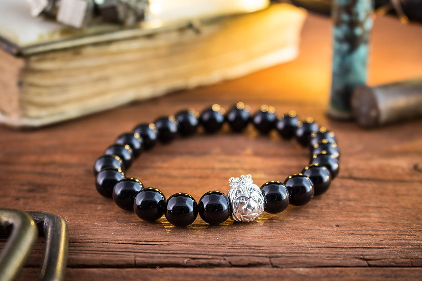 Onyx beaded stretchy bracelet with sterling silver Lion