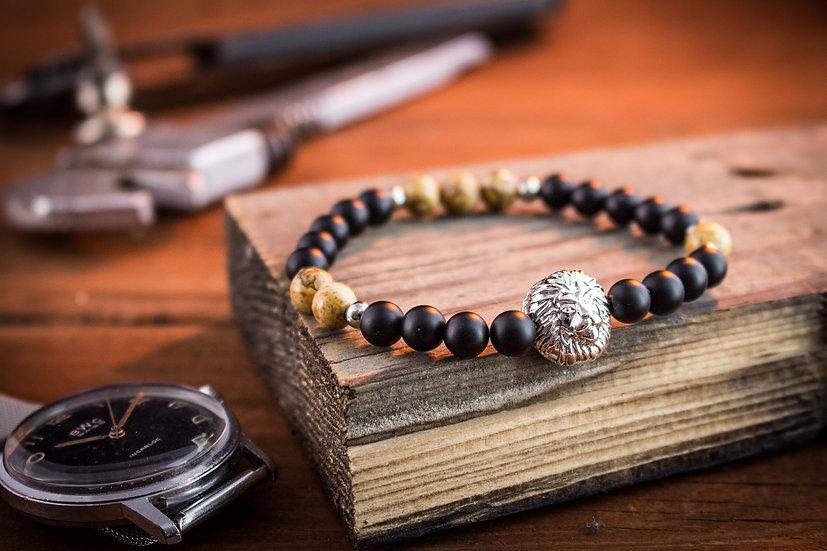 Matte black onyx & jasper stone beaded stretchy bracelet with silver lion