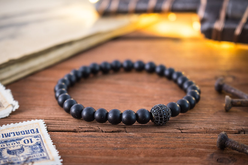 Matte onyx beaded stretchy bracelet with black micro pave bead