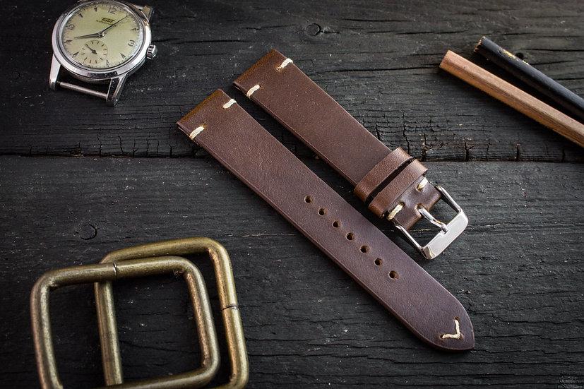 18mm Vintage style dark brown leather strap, two stitch watch strap