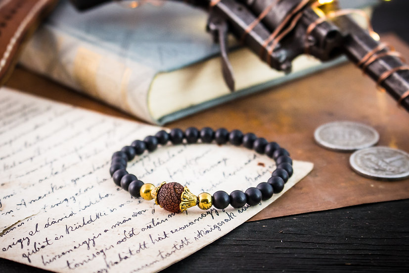 Matte black onyx & crackle dream agate beaded stretchy bracelet