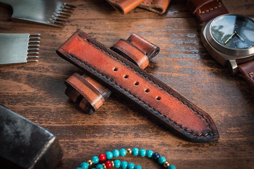 Antiqued handmade 24mm reddish amber leather strap 125/72mm, For Panerai, Maranez, Ennebi