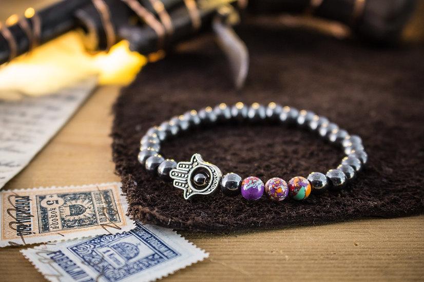 Hematite beaded stretchy bracelet with silver Hamsa charm