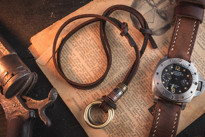 Brown genuine leather men's necklace with brass ring pendants and rings