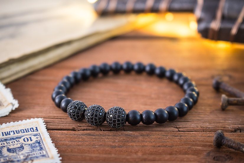 Matte onyx beaded stretchy bracelet with black micro pave beads