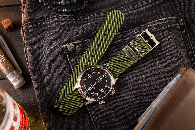 22mm Army Green Adjustable Woven Fabric Single Pass Nato Watch Strap