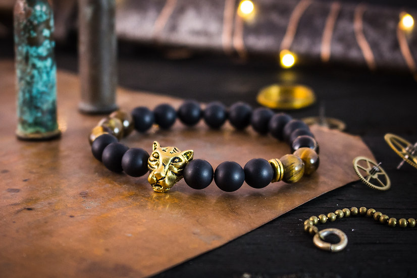 Matte black onyx, tiger eye beaded stretchy bracelet with gold Leopard