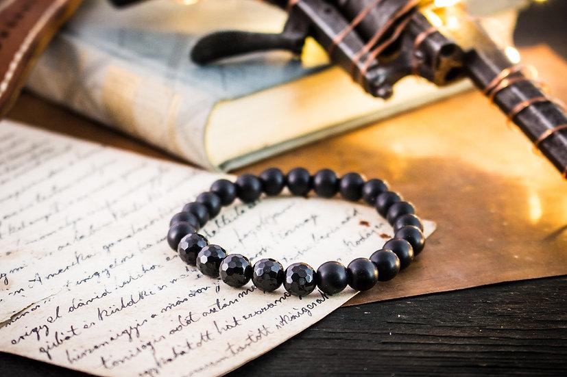 Matte black & faceted polished onyx beaded stretchy bracelet