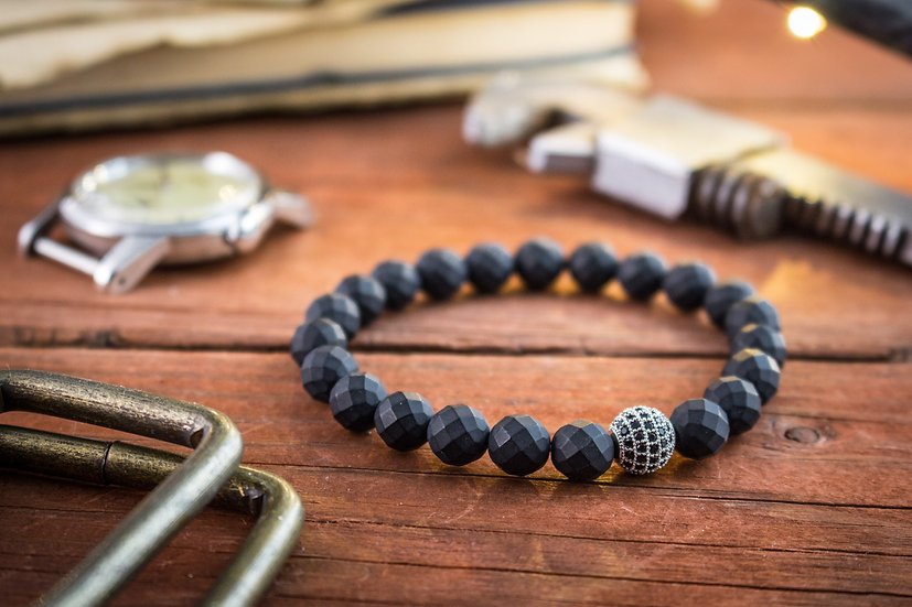 Matte black faceted onyx beaded stretchy bracelet with micro pave bead