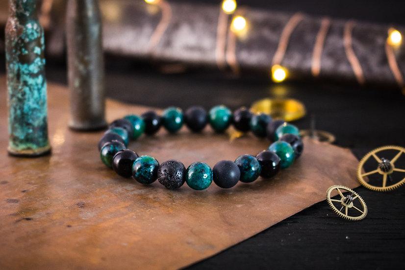 Black onyx, greenish chrysocolla & lava stone beaded stretchy bracelet