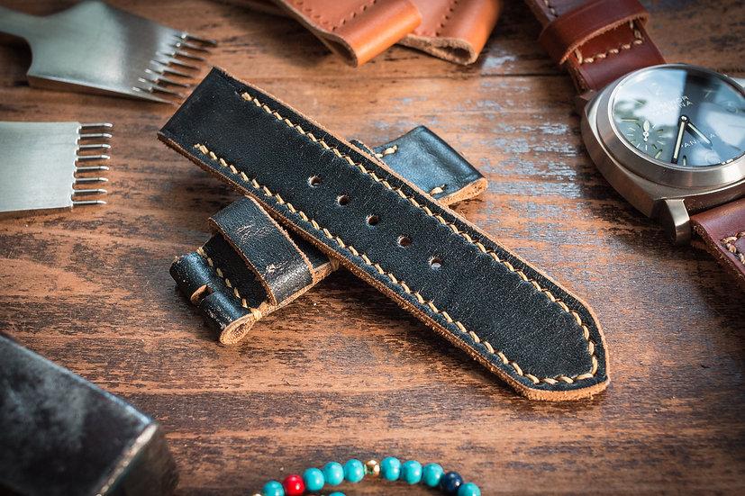 Handmade 24mm antiqued extra soft black leather strap 127/80mm, for Panerai, Ennebi