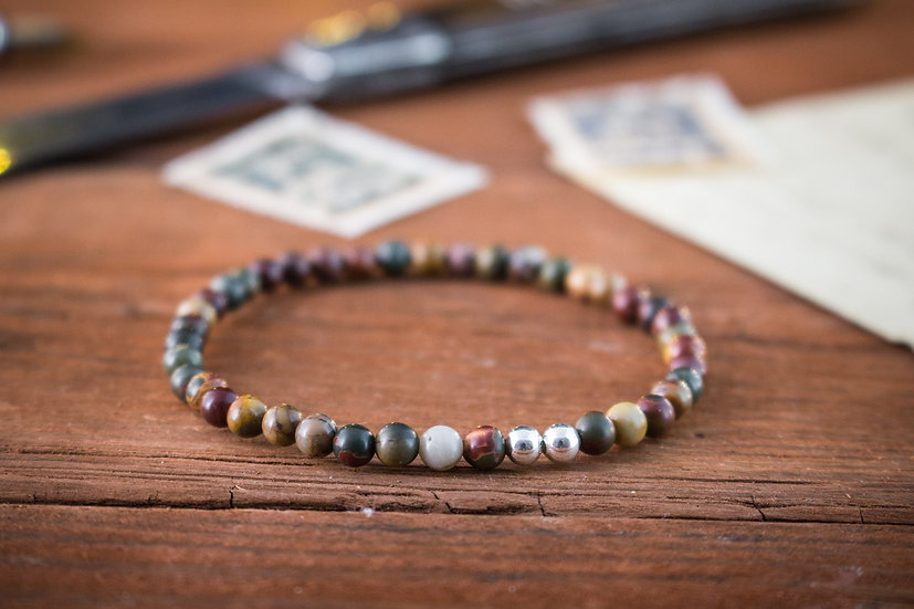 Picasso jasper beaded stretchy bracelet with sterling silver beads
