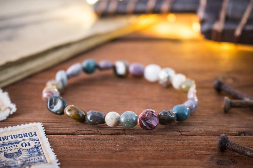 Freeform indian agate beaded stretchy bracelet