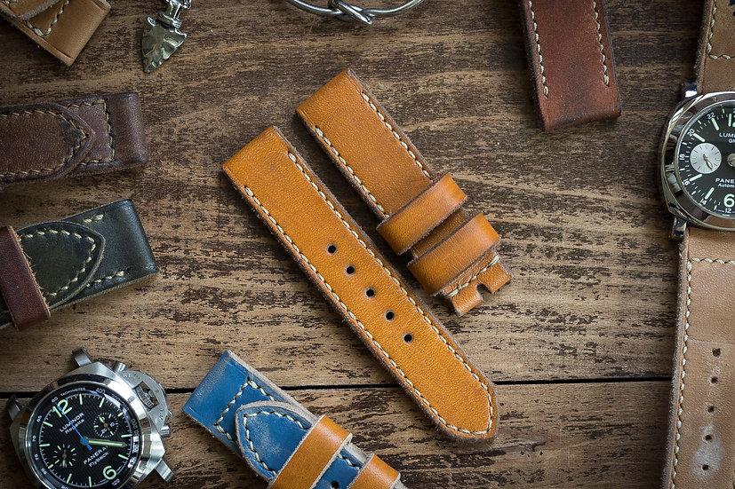 Handmade 22mm antiqued amber orange leather watch strap 125/85mm