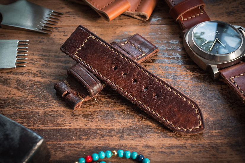 Handmade 24mm antiqued reddish brown leather strap 120/84mm, for Panerai