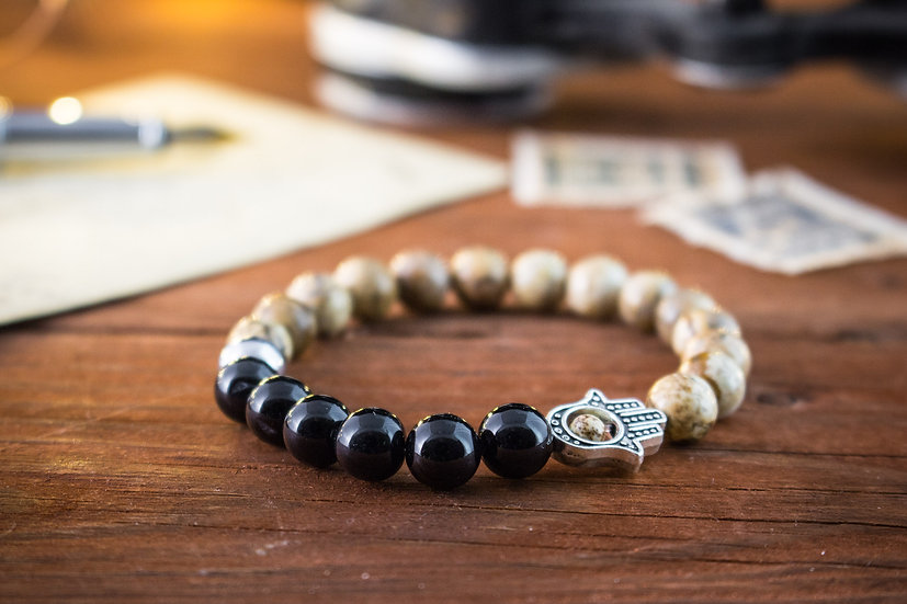 Jasper stone & onyx beaded stretchy bracelet with Hamsa hand