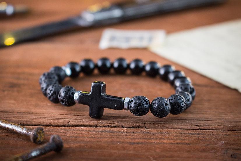Onyx & lava stone beaded stretchy bracelet with black cross