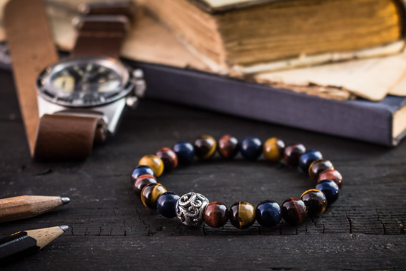 Blue, Red and brown tiger eye beaded stretchy bracelet with sterling silver bead