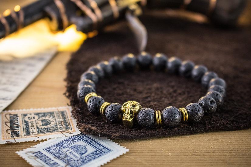 Lava stone beaded stretchy bracelet with gold skull
