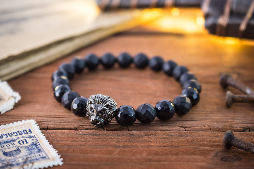 Faceted black onyx beaded stretchy bracelet with gunmetal Lion