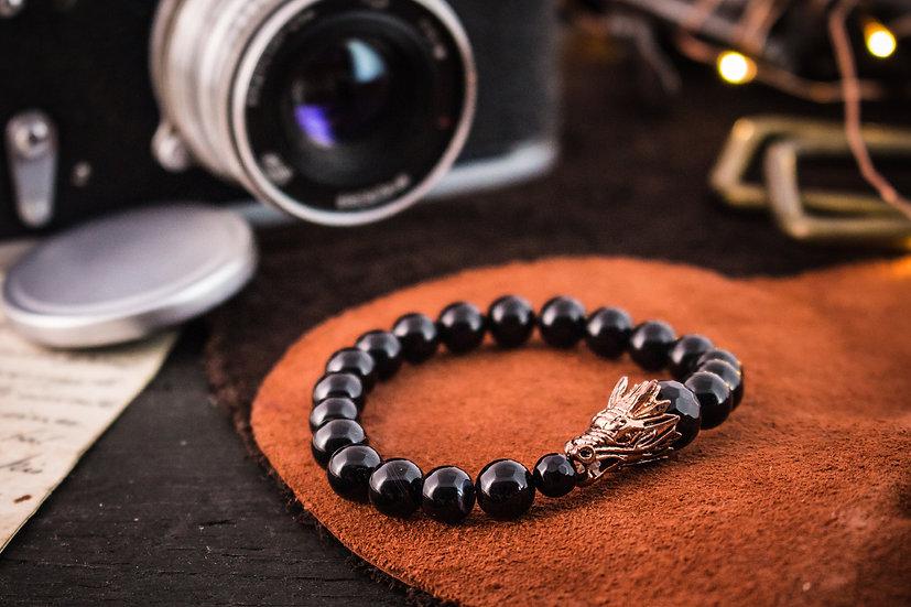 Black onyx beaded stretchy bracelet with rose gold dragon