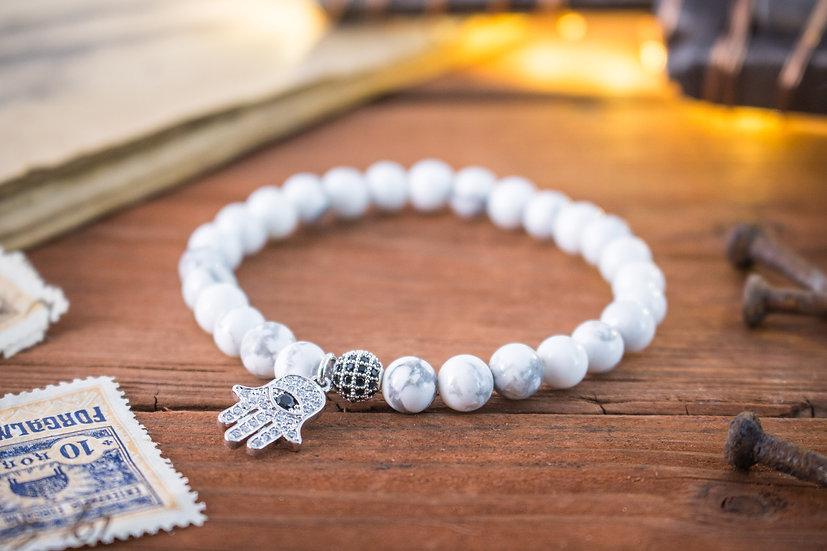 Howlite beaded stretchy bracelet with silver Hamsa charm
