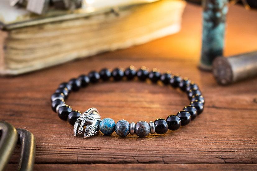 Black onyx & blue agate beaded stretchy bracelet with silver spartan helmet