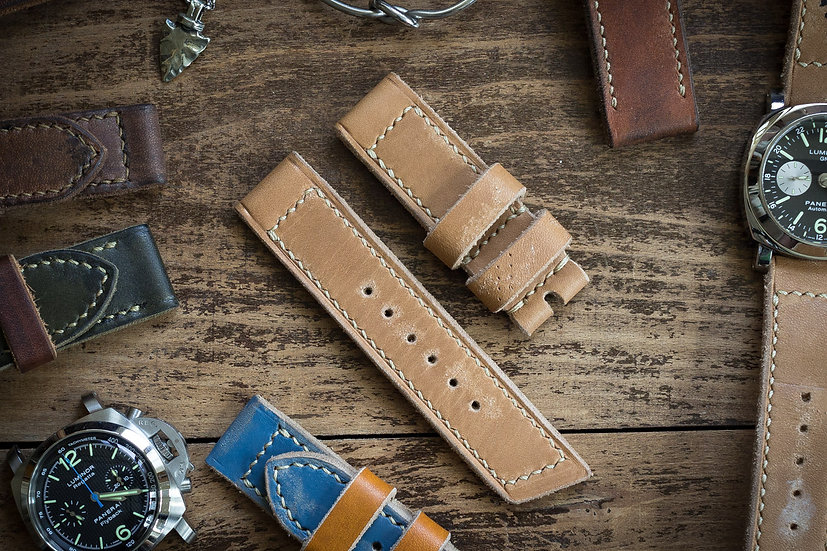 Handmade 24mm oiled, light chestnut brown leather strap with beige stitching