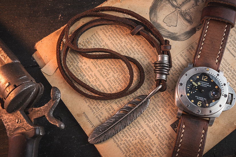 Brown genuine leather men's necklace with large feather and ring pendants