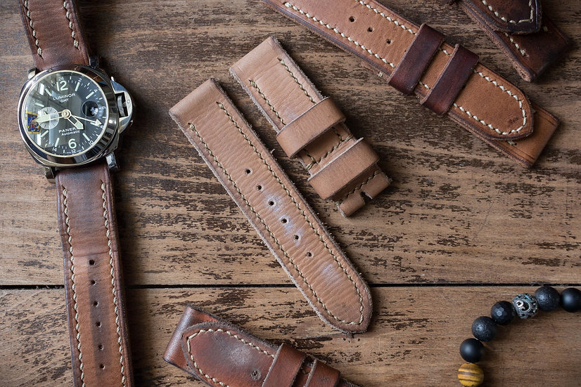 Handmade 24mm tan brown oiled leather strap 129/85mm