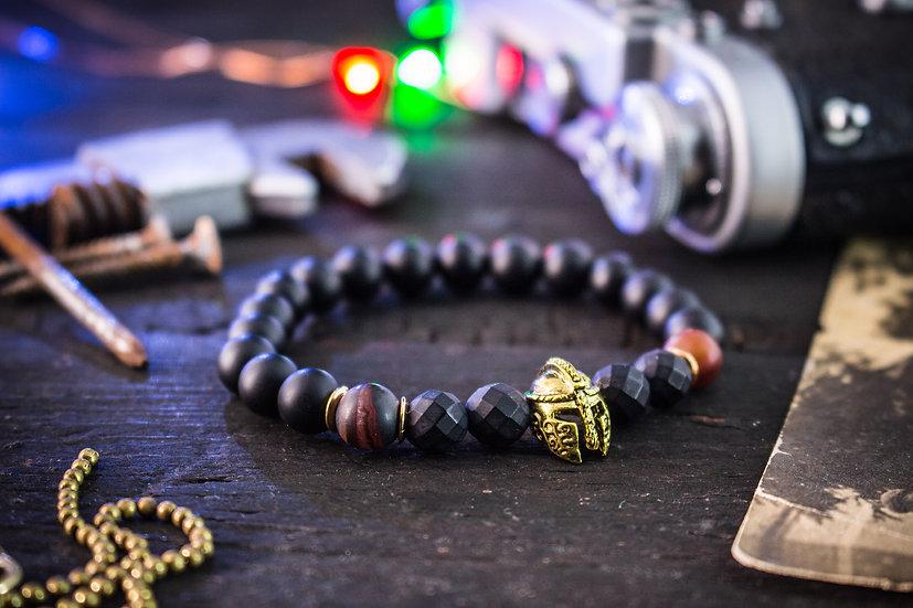 Matte black onyx & dream agate beaded stretchy bracelet with spartan helmet