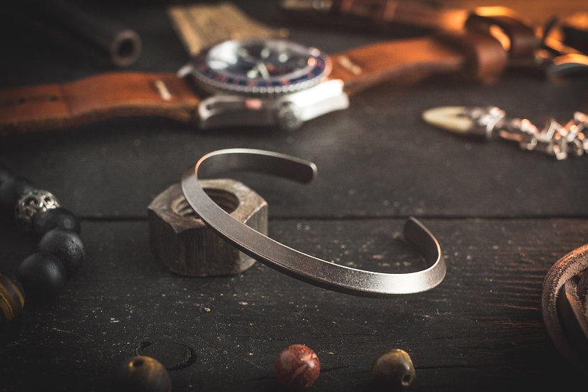 Antiqued stainless steel cuff bangle men's bracelet