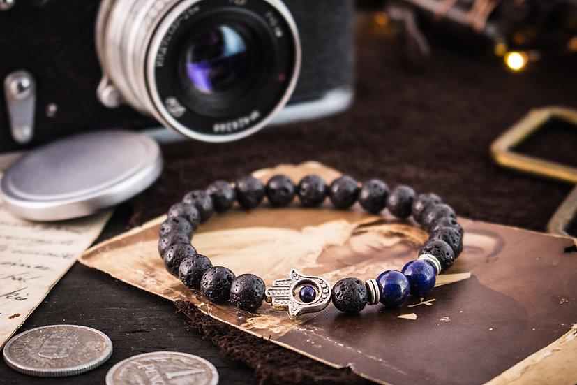Black lava stone & lapis lazuli beaded stretchy bracelet with silver Hamsa hand
