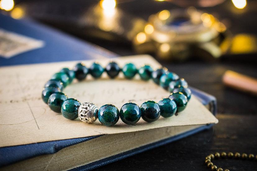 Greenish chrysocolla beaded stretchy bracelet for men