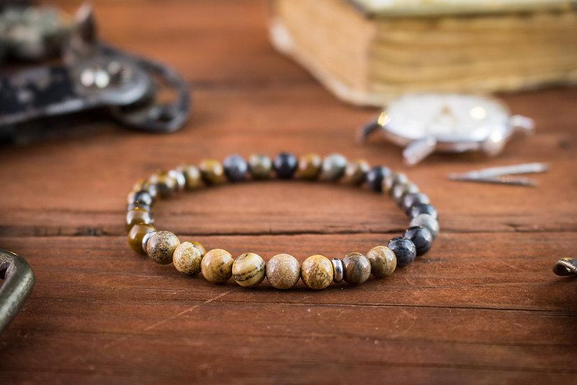 Picasso stone & brown jasper and tiger eye beaded stretchy bracelet
