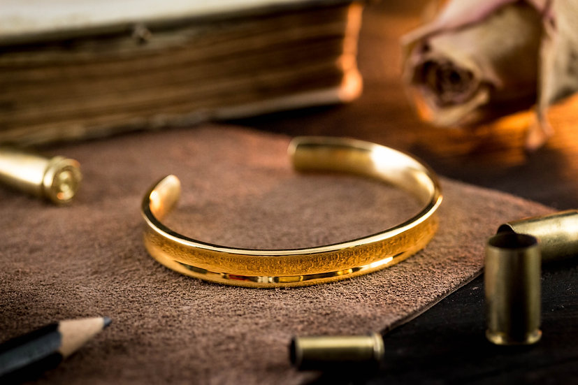 Gold plated stainless steel cuff bangle men's bracelet