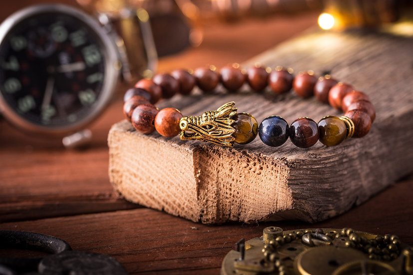Wood beaded gold Dragon head stretchy bracelet with blue,brown & red tiger eye