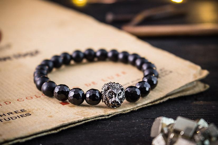 Black onyx beaded stretchy bracelet with gunmetal lion