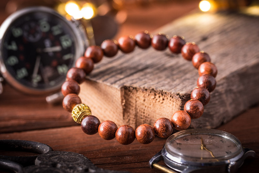 Wood beaded stretchy bracelet with gold end bead