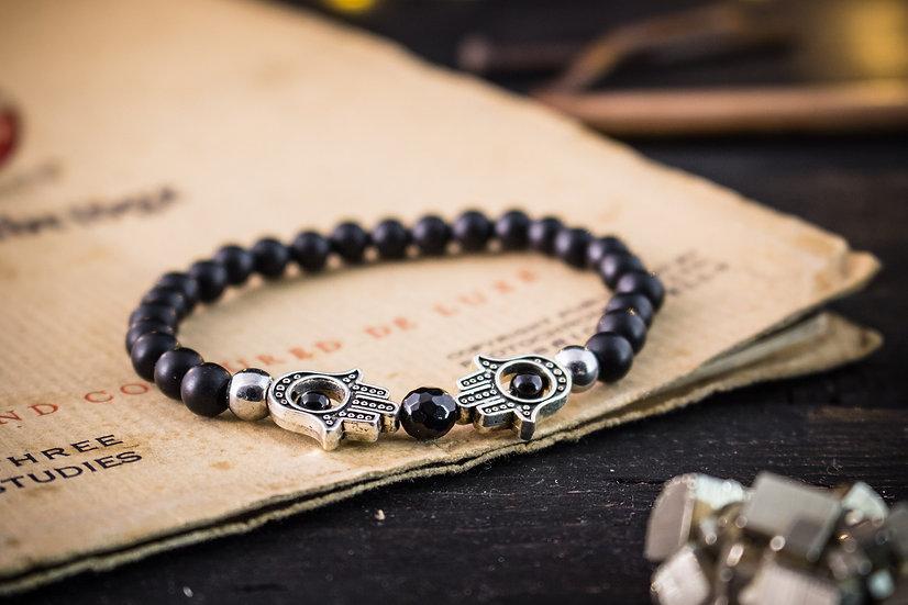 Matte black beaded stretchy bracelet with Hamsa hands