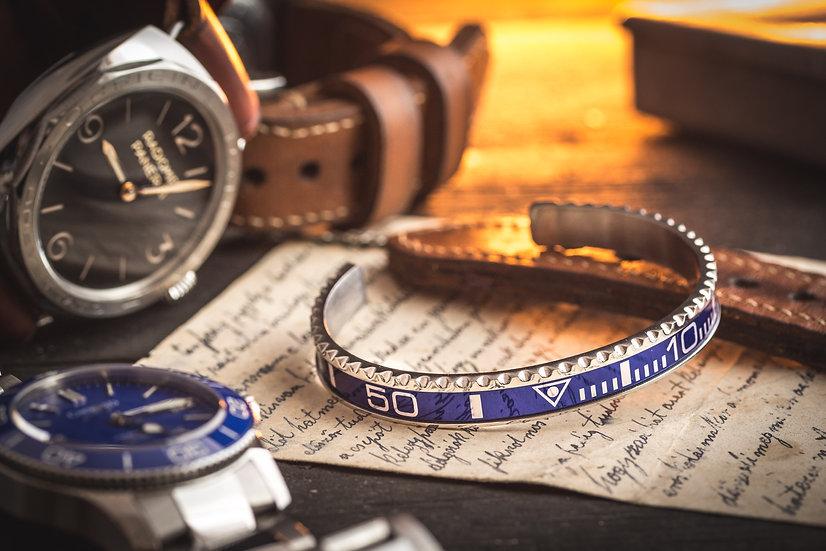 Blue Rolex submariner bezel bracelet, speedometer cuff